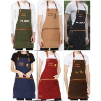 apron kanvas pvc waterproof & synthetic leather for barista + bordir