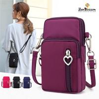 Tas HP Selempang Wanita Import Mini Heart Zipper L Size