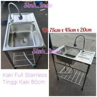 Bak Cuci Piring Portable Westafel Kitchen Sink Cuci piring 1 lubang 75