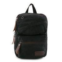 Urban State - Canvas PU Zipper Ring Slingbag - Black