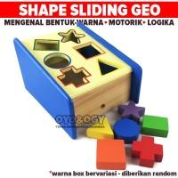 Mainan Edukasi Anak Sliding Geo Shape Sorter Box Puzzle Balok Kayu