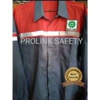 Seragam baju safety Kombinasi merah abu abu scotlight fosfor bordil