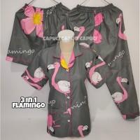 Piyama 3in1 flamingo swan pink baju tidur piama dewasa cewek katun