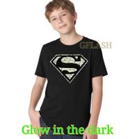 Baju Kaos Tshirt Anak Cowok Superman Bata Glow In The Dark
