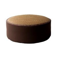 Hagihara Bantal Kursi/Lantai Bulat Tatami Lurik Cokelat-Besar 17cm