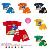 Baju Setelan Anak Laki-Laki Pendek Captain America Model A Shirton