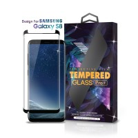 Tempered Glass Samsung Galaxy S8 Full Cover Black Friendly Case