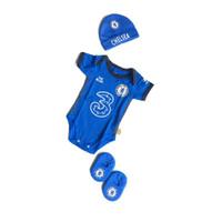 Set Jumper Bayi Bola Chelsea Topi Kupluk Bayi Newborn Jumpsuit Bayi