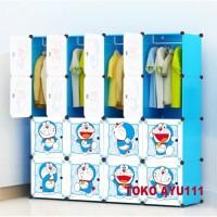 Lemari baju lemari plastik rak serbaguna susun lemari pakaian 16 pintu