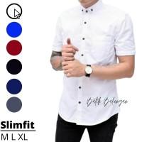 Baju Kemeja Pria Putih Polos lengan Pendek | Kemeja Slimfit | Grosir - Abu-abu