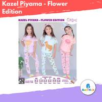 Kazel Piyama Flower Edition - Stelan Piyama Baju Pendek Celana Panjang