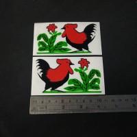 Cutting Sticker mangkok ayam Jago KECIL 10cm sepasang bahan oracal