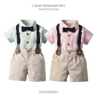 Shirt Boy Suspender Set Party Baju Hem Dasi Anak Bayi Cowo Pesta JOHAN
