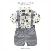 Shirt Boy Suspender Set Party Baju Hem Dasi Anak Bayi Cowo Pesta ZION - 70