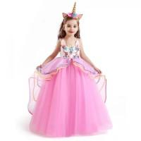 Dress Pesta Anak Unicorn Pink Gratis Bando - 120