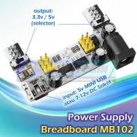 MB102 Power Supply Breadboard 3.3v 5v input Mini USB or DC 7-12v Board