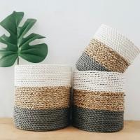 Cover pot mendong keranjang anyaman seagrass rotan grey kasongan yogya