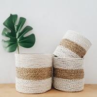 Cover pot mendong keranjang anyam anyaman seagrass rotan putih