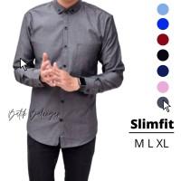 Baju Pria Lengan Panjang Warna Grey Polos | kemeja slimfit | Grosir