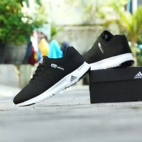 Sepatu Sport Casual Adidas Neo Running - Hitam Putih - Kets Pria