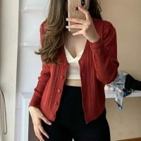 a5 - ca baju jaket blazer sweater baju hangat cewek wanita rajut