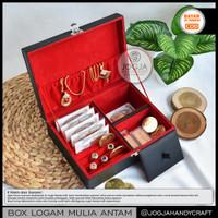 Kotak Emas Antam Premium Berkualitas Muat Banyak / Tempat Emas - Black Red