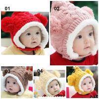 Tseloop-P16 P23-30 Topi Kupluk Bayi Pompom Topi Anak Bucket Rajut Topi