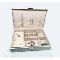 Kotak Perhiasan Jewerly Box Cincin, Kosmetik, Gelang ,Anting, Kalung - Putih Selapis