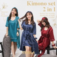 KIMONO DRESS SATIN PIYAMA BAJU TIDUR WANITA SATEN PREMIUM DEWASA MAIA