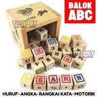 Mainan Edukasi Anak Balok Kayu ABC Wood Block Angka Abjad Huruf