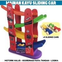 Mainan Kayu Edukasi Anak Mobil Luncur Sliding Car Track Wooden Paten