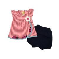 Baju Anak Bayi Perempuan CB 245212 Setelan Anak Hotpants Ladybug Salur