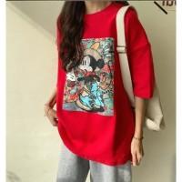 Art Coloring Micket Big Tee T Shirt Jepang Big Size - Abu-abu