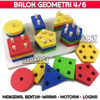 Mainan Edukasi Anak Basic Shape Kayu Balok Geo Geometri 6 Bentuk Warna