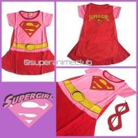 Kostum Karakter Anak Supergirl Pink Merah Baju Superhero Super Girl