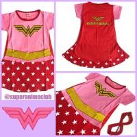 Kostum Karakter Anak Wonder Woman Pink Merah Baju Superhero Perempuan