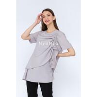 Nyonya Nursing Wear - Bitha - Baju Hamil dan Menyusui - Smoke Grey S