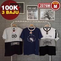 3-IN-1 Kaos Distro Pria Keren Size M Baju Murah Trend Streetwear Laki