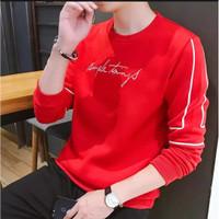 kaos pria sweater lengan panjang cowok babyterry baju SIMPLE THINGS - Merah, M
