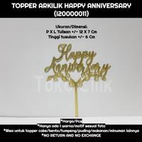 topper/arkilik/tusukan/happy anniversary/gold/kecil/cake/puding/bento