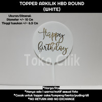 topper/arkilik/tusukan/happy birthday/round/bulat/putih/cake/bento/kue