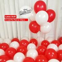 Balon doff merah putih 1 PACK ISI 100 Pcs / Balon latex doff Per Pack