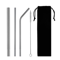 Sedotan Metal Stainless Straw Set (Isi 3 + Sikat + Pouch) Boba Bubble