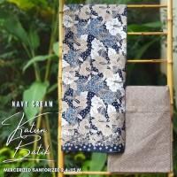 Kain Batik Solo Kelopak Bunga Bakal Navy Cream Sanforized Batiksoloama