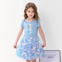 Baju Dress Anak Princess Frozen Elsa Anna Sequin Sparkle Import 2T-7T