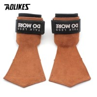 7632 AOLIKES LEATHER STRAP BROWN WRIST WRAP SUPPORT GRIP BAND GLOVE