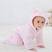 romper baju bayi anak beruang pinky imut hangat