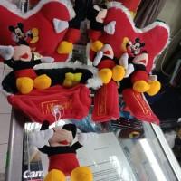 set bantal mobil 4 in 1 motif Mickey mouse merah list putih
