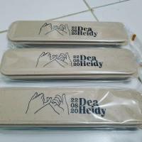 Souvenir Sendok Set Travel Jerami Cetak Nama / Cutlery Set