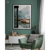 Lukisan Dinding/Wall Art Dolomites Travel - Frame Black Fiber - 60x90